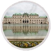 Upper Belvedere And Its Reflection  Round Beach Towel