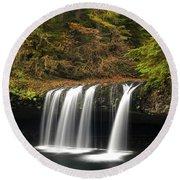 Upper Butte Creek Falls 2 Round Beach Towel