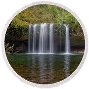 Upper Butte Creek Falls In Fall Season Round Beach Towel
