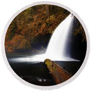 Upper Butte Creek Falls Round Beach Towel