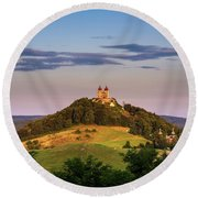 Upper Church With Two Towers In Banska Stiavnica, Slovakia Round Beach Towel