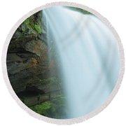 Upper Cullasaja Dry Falls In North Carolina Panorama Round Beach Towel by Ranjay Mitra