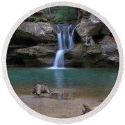 Upper Falls In Hocking Hills Round Beach Towel