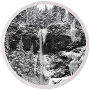 Upper Falls In Snow's Cover Round Beach Towel
