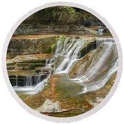 Upper Gorge Falls Of Enfield Glen In Treman State Park Round Beach Towel