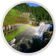 Upper Mesa Falls Round Beach Towel