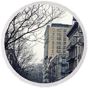 Upper West Side Winter Round Beach Towel