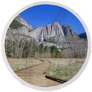 Upper Yosemite Fall And The Trail Round Beach Towel