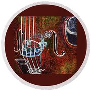 Upright Bass Close Up Round Beach Towel