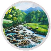 Upriver Round Beach Towel
