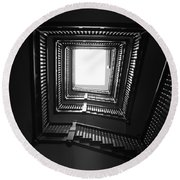 Upstairs- Black And White Photography By Linda Woods Round Beach Towel