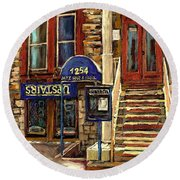 Upstairs Jazz Bar And Grill Montreal Round Beach Towel by Carole Spandau