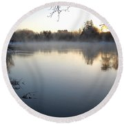 Upstream Mississippi River After Ice Out Round Beach Towel