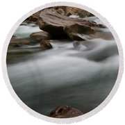 Upturned Rock In A Flowing Stream Round Beach Towel