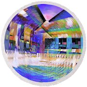 Urban Abstract 333 Round Beach Towel
