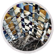 Urban Abstract 343 Round Beach Towel