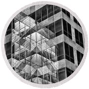 Urban Abstract - Mirrored High-rise Building In Black And White Round Beach Towel