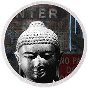 Urban Buddha 4- Art By Linda Woods Round Beach Towel