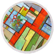 Urban Composition - Abstract Zoning Plan Round Beach Towel