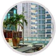 Urban Landscape, Miami, Florida Round Beach Towel