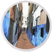 Urban Scene  Round Beach Towel