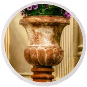 Urn With Purple Flowers Round Beach Towel