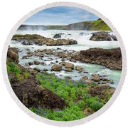 Urridafoss Waterfall And River Pjorsa In Iceland Round Beach Towel