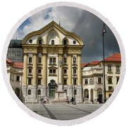 Ursuline Church Of The Holy Trinity With Marble Statues Of The H Round Beach Towel