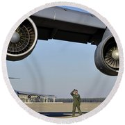 U.s. Air Force Crew Chief Performs Round Beach Towel