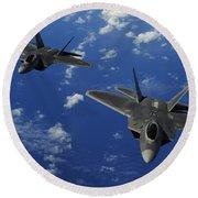 U.s. Air Force F-22 Raptors In Flight Round Beach Towel