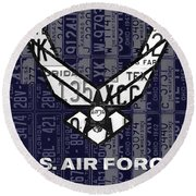 Us Air Force Logo Recycled Vintage License Plate Art Round Beach Towel