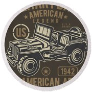 Us American Amry Jeep Round Beach Towel