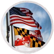 Us And Maryland Flags Round Beach Towel