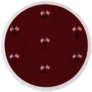 Us And Uk Flags Design - Burgundy Round Beach Towel
