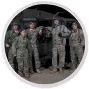 U.s. Army Crew Chiefs Pose In Front Round Beach Towel