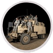 U.s. Army Medical Personnel Pose Round Beach Towel