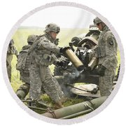 U.s. Army Soldier Throws A Spent 105mm Round Beach Towel
