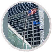 Us Bank With Flags Round Beach Towel