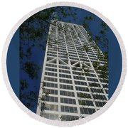 Us Bank With Trees Round Beach Towel