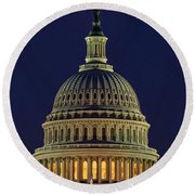 U.s. Capitol At Night Round Beach Towel