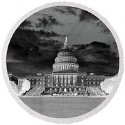 Us Capitol Washington Dc Negative Round Beach Towel
