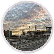 Us Cell Sunset Round Beach Towel