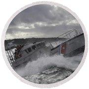 U.s. Coast Guard Motor Life Boat Brakes Round Beach Towel by Stocktrek Images