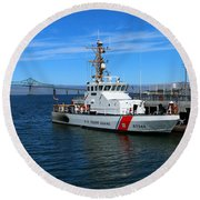 Us Coast Guard On Columbia River Round Beach Towel