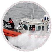 U.s. Coast Guardsmen Aboard A Security Round Beach Towel