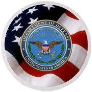 U. S. Department Of Defense - D O D Emblem Over U. S. Flag Round Beach Towel