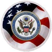 U. S. Department Of State - Dos Emblem Over U.s. Flag Round Beach Towel