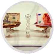 U.s. Dollar And Euro Banknotes On A Pair Of Scales In Vienna Round Beach Towel