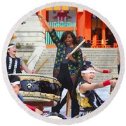 U.s. First Lady Michelle Obama  Plays The Taiko Drum  Round Beach Towel