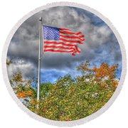 Us Flag 8091 Round Beach Towel